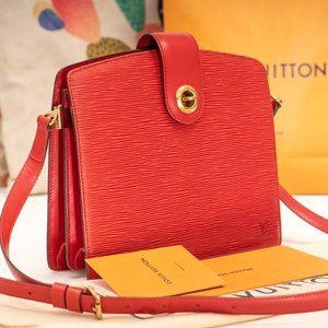 LOUIS VUITTON Red Epi Leather Capucine Bag